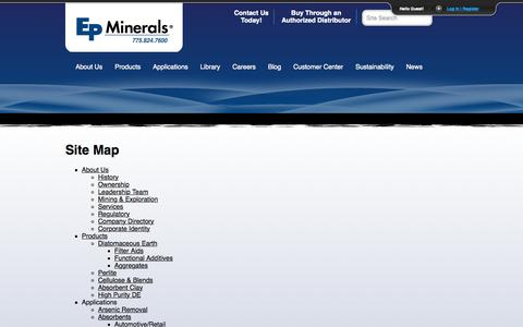 Screenshot of Site Map Page epminerals.com - Site Map   EP Minerals - captured July 17, 2015