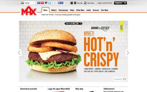 Screenshot of Home Page max.se - Max Hamburgare - Sveriges äldsta och mest omtyckta hamburgerkedja! - captured Sept. 19, 2014