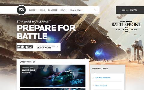 Screenshot of Home Page ea.com - EA Games - Electronic Arts - captured Dec. 2, 2015