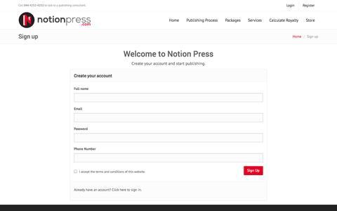 Screenshot of Signup Page notionpress.com - Get Started | Notion Press - captured Sept. 23, 2014