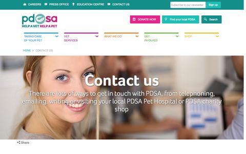 Screenshot of Contact Page pdsa.org.uk - Contact Us - PDSA - captured Nov. 23, 2015