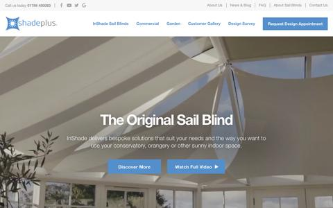 Screenshot of Home Page shadeplus.co.uk - Conservatory Roof Blinds and Premium Garden Sails - UK Experts - captured Oct. 18, 2018