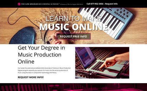 Screenshot of Landing Page lafilm.edu - go.lafilm.edu  Online Music Production School | The Los Angeles Film School - captured Aug. 3, 2016
