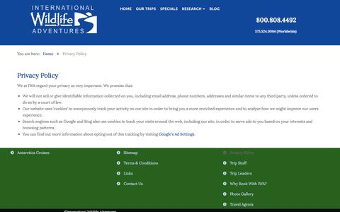 Screenshot of Privacy Page wildlifeadventures.com - Privacy Policy - captured Oct. 15, 2017