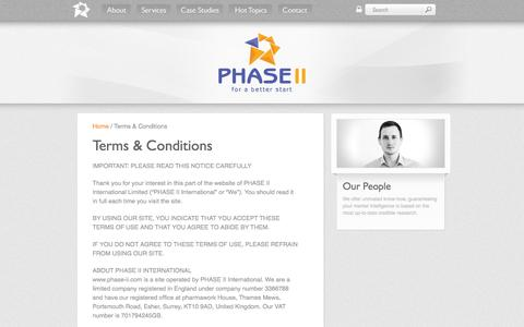 Screenshot of Terms Page phase-ii.com - PHASE II - The full service medical marketing specialists - Terms - captured Sept. 29, 2014