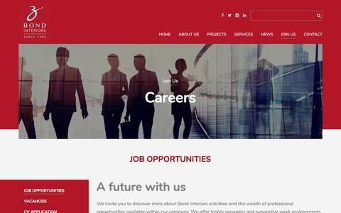 Screenshot of Signup Page bondinteriors.com - Job Opportunities    Bond Interiors - captured Aug. 3, 2018