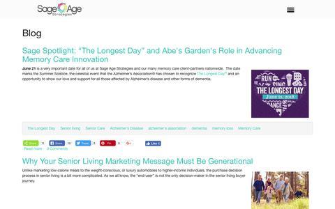 Screenshot of Blog sageagestrategies.com - Blog | Sage Age Strategies - captured July 3, 2018