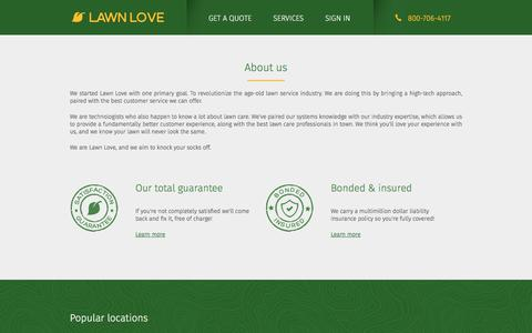 Screenshot of About Page lawnlove.com - About Lawn Love | Lawn Cutting Services | Lawn Love - captured July 15, 2019