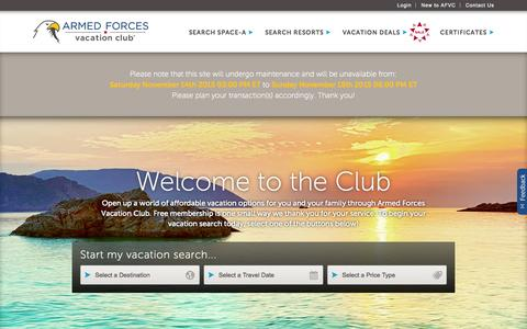 Screenshot of Home Page afvclub.com - Military Vacation Deals for families | Armed Forces Vacation Club - captured Nov. 13, 2015