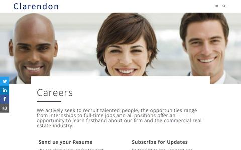 Screenshot of Jobs Page clarendon.com - Careers – Clarendon | Appraisal & Advisory, Research, Investment Sales - captured May 18, 2017