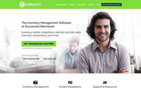 Screenshot of Home Page tradegecko.com - Inventory Management Software - TradeGecko - captured Jan. 15, 2015