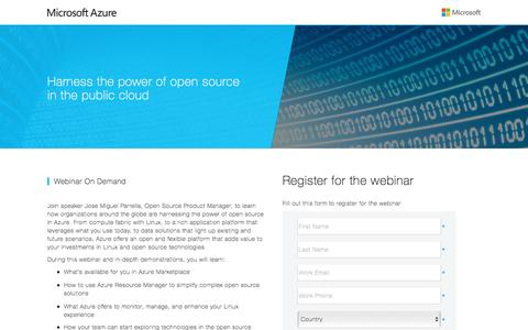 Screenshot of Landing Page microsoft.com - Harness the power of open source in the public cloud - captured April 5, 2016