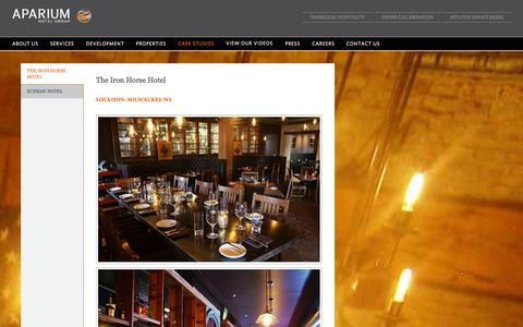 Screenshot of Case Studies Page aparium.com - The Iron Horse Hotel » Aparium - captured Oct. 27, 2014