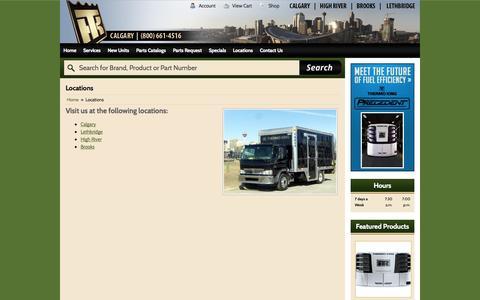 Screenshot of Locations Page thermokingcalgary.com - Locations THERMO KING CALGARY - captured Nov. 4, 2014