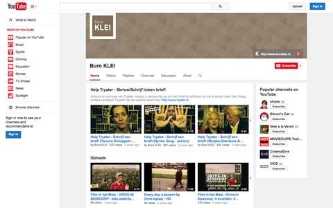 Screenshot of YouTube Page youtube.com - Buro KLEI  - YouTube - captured Oct. 29, 2014