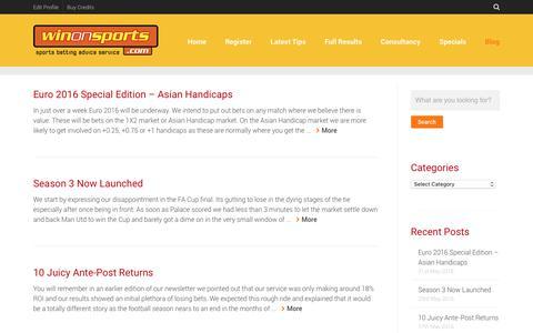 Screenshot of Blog winonsports.com - Tony Ansell Blog. Professional Gambler. WinOnSports.com - captured Oct. 19, 2018