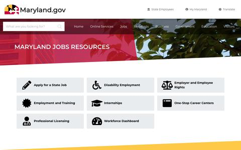Screenshot of Jobs Page maryland.gov - Maryland Maryland Jobs Resources - Maryland.gov - captured Nov. 15, 2019