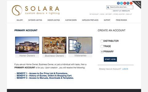 Screenshot of Signup Page solaralighting.com - SIGN UP Page - captured Oct. 22, 2017