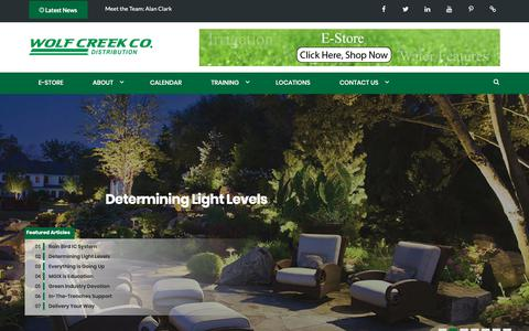 Screenshot of Home Page wolfcreekcompany.com - Wolf Creek Co. Irrigation | Landscape Supplies | Lighting | Drainage | Water features - captured Oct. 20, 2018