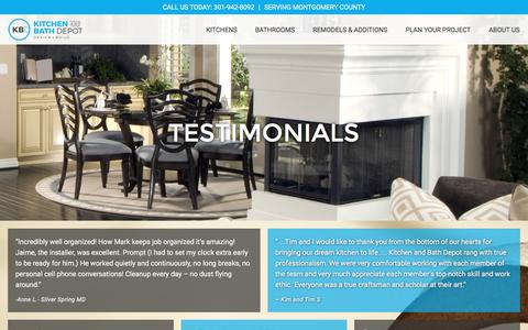 Screenshot of Testimonials Page kitchenbathdepot.com - Testimonials - Kitchen and Bath Depot - captured June 22, 2016