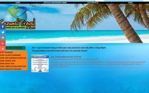 Screenshot of Press Page cozumeltravelandtours.com - Transportation Cozumel - Cozumel Travel and Tours - captured July 14, 2018