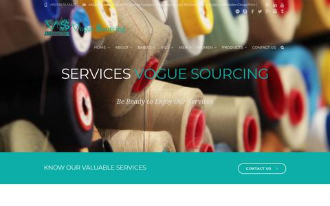 Screenshot of Services Page voguesourcing.com - Services |Apparel,Garment,Clothing Production,Exporters| Vogue Sourcing - captured July 13, 2018