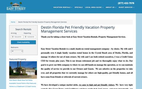 Screenshot of About Page easystreetvacationrentals.com - Destin Vacation Rental Property Management Services - captured Oct. 22, 2018