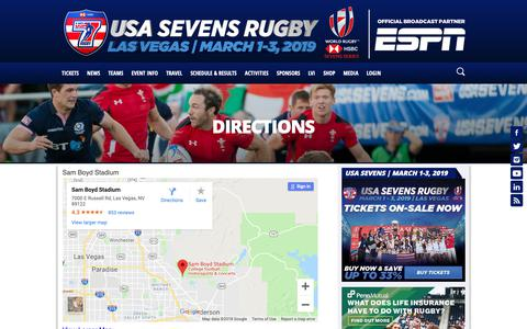 Screenshot of Maps & Directions Page usasevens.com - Directions - captured Oct. 1, 2018