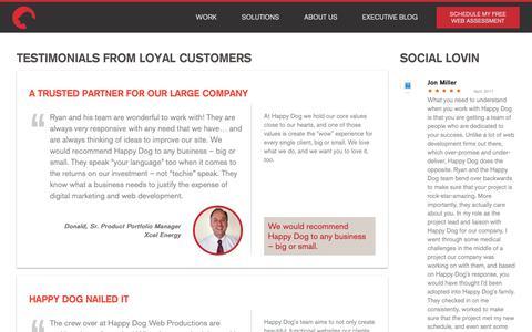 Screenshot of Testimonials Page hdwebpros.com - Testimonials from Happy Dog clients - captured Nov. 8, 2018