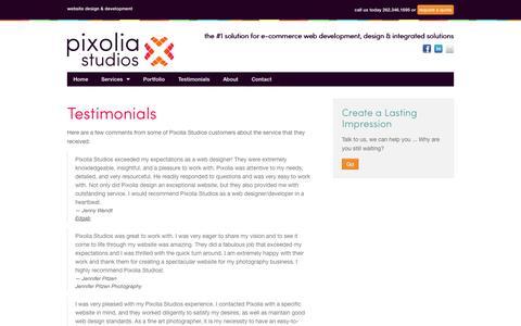 Screenshot of Testimonials Page pixoliastudios.com - Pixolia Studios - The #1 Solution for E-Commerce Web Development, Design & Integrated Solutions - captured Sept. 30, 2014