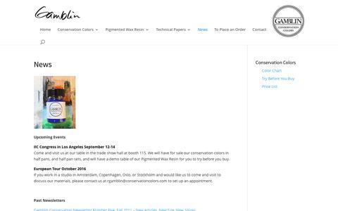 Screenshot of Press Page gamblincolors.com - News - Gamblin Artists Colors - captured Oct. 21, 2016