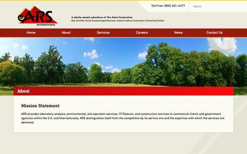 Screenshot of About Page amrad.com - Mission Statement | ARS International - captured Oct. 2, 2018