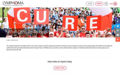 Screenshot of Support Page lymphoma.org - Support LRF - Lymphoma Research Foundation - captured Sept. 30, 2018