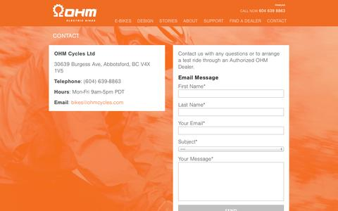 Screenshot of Contact Page ohmcycles.com - Contact Us | OHM Cycles - captured Oct. 7, 2014