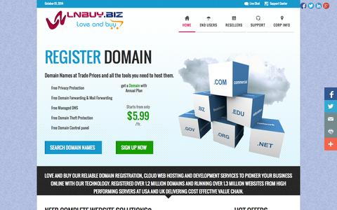 Screenshot of Home Page lnbuy.biz - LNBUY.BIZ | Love and Buy Domains, Cloud Web Hosting and Development Services - captured Oct. 1, 2014