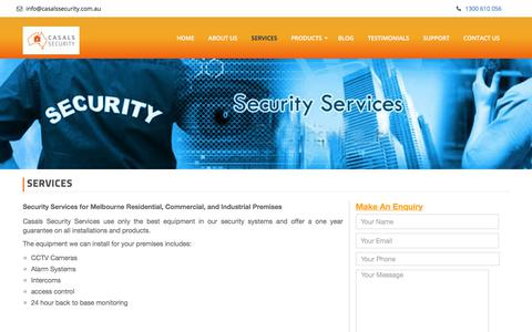 Screenshot of Services Page casalssecurity.com.au - Services - Casals Security - captured July 17, 2017