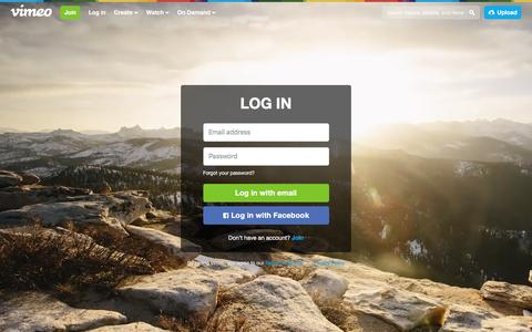 Screenshot of Login Page vimeo.com - Log in to Vimeo - captured Jan. 13, 2016