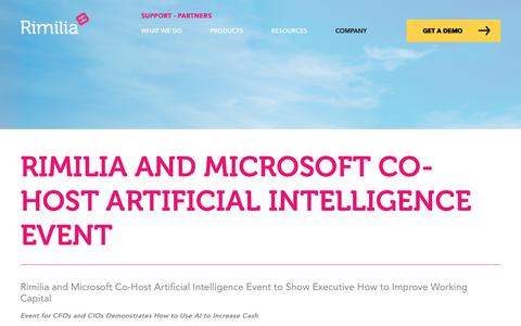 Screenshot of Press Page rimilia.com - Rimilia and Microsoft Co-Host Artificial Intelligence Event | Rimilia - captured Jan. 30, 2020