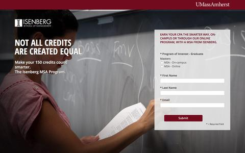Screenshot of Landing Page umass.edu - Masters Of Science In Accounting | Isenberg - captured Jan. 3, 2017