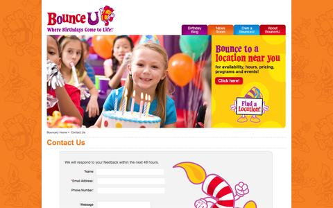 Screenshot of Contact Page bounceu.com - BounceU | Contact Us - captured Jan. 7, 2016