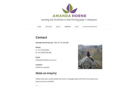 Screenshot of Contact Page amandahorne.com.au - Contact – Amanda Horne - captured Oct. 8, 2017