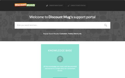 Screenshot of Support Page discountmugs.com - Support : Discountmugs - captured Feb. 19, 2017