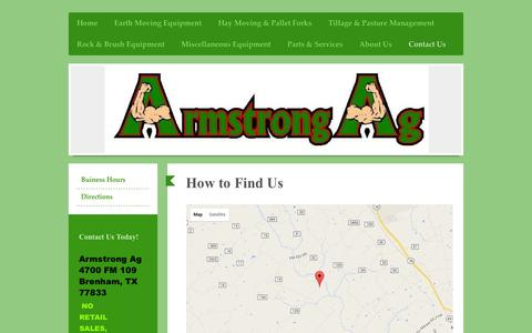 Screenshot of Maps & Directions Page armstrongag.com - Armstrong Ag - Directions - captured March 17, 2016