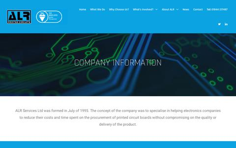 Screenshot of About Page alrpcbs.co.uk - ALR | About us - PCB company information - captured Oct. 2, 2018
