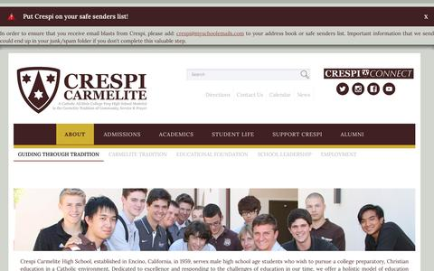 Screenshot of About Page crespi.org - Crespi Carmelite Guiding Through Tradition - captured Nov. 14, 2016