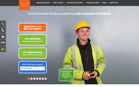 Screenshot of Home Page personnelchecks.co.uk - DBS (CRB) Checks Online | Personnel Checks - captured Sept. 29, 2014