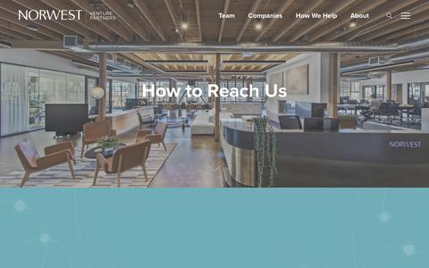 Screenshot of Contact Page nvp.com - Contact • Norwest Venture Partners - captured Oct. 18, 2018