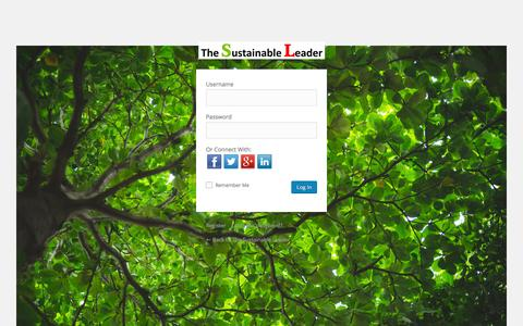 Screenshot of Login Page thesustainableleader.org - The Sustainable Leader › Log In - captured Feb. 28, 2016