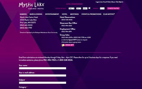 Screenshot of Contact Page mysticlake.com - Contact | Mystic Lake Casino Hotel - captured Sept. 23, 2014