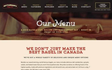 Screenshot of Menu Page kettlemansbagels.ca - Ottawa Catering | Catering Ottawa | Montreal Style Bagel - captured Oct. 22, 2018